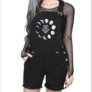 NWOT KILLSTAR Many Moons Denim overalls goth